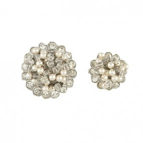 JEWEL BUTTON WITH BEADS AND RHINESTONE WHITE