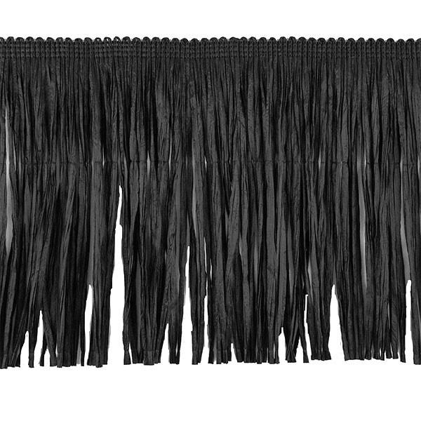 NATURAL RAFFIA FRINGE 150MM - BLACK