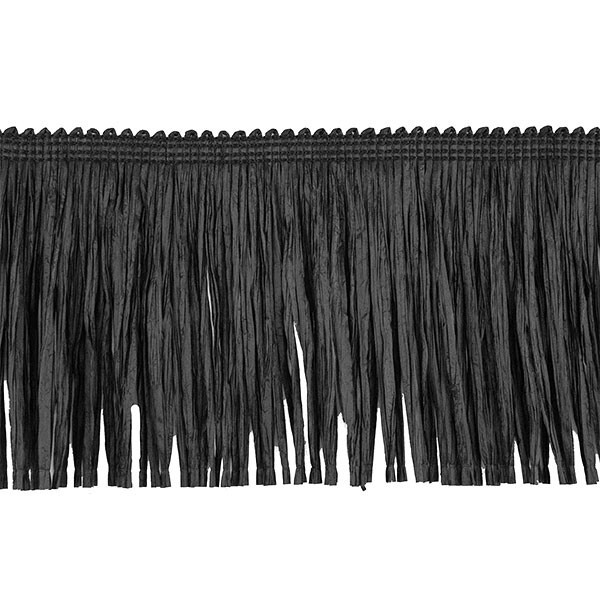 RAFFIA FRINGE NATURAL150MM - BLACK