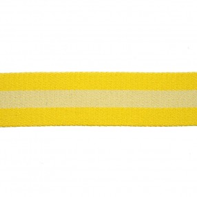 RIGID WOVEN WEBBING WITH STRIPE - YELLOW BEIGE