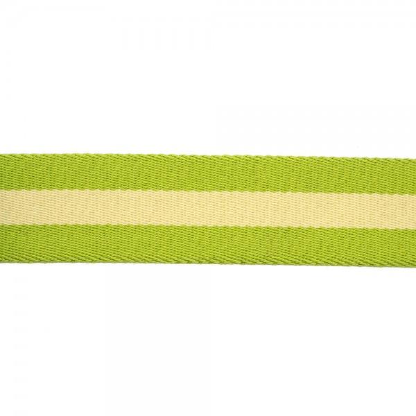 RIGID WOVEN WEBBING WITH STRIPE - ACID GREEN BEIGE