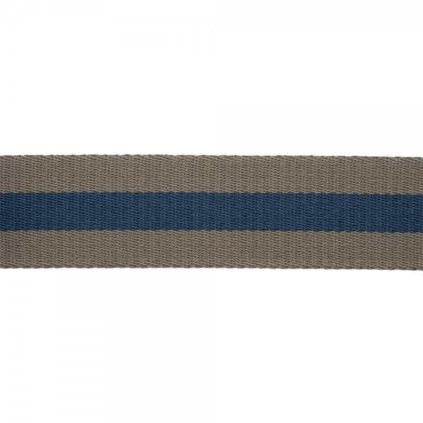 RIGID WOVEN WEBBING WITH STRIPE - GREY BLUE