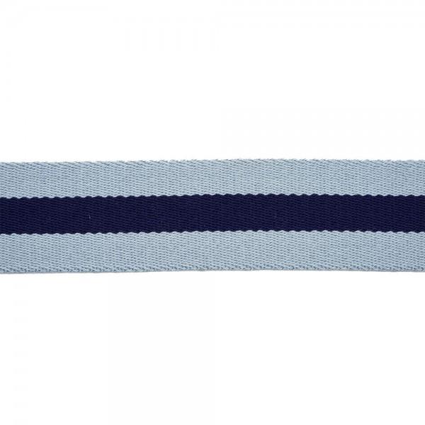 RIGID WOVEN WEBBING WITH STRIPE - LIGHT BLUE BLUE