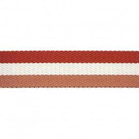 HERRINGBONE WOVEN WEBBING WITH STRIPE - SALMONE WHITE