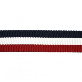 HERRINGBONE WOVEN WEBBING WITH STRIPE - BLU WHITE RED