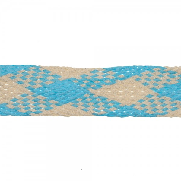 RAFFIA COTTON  BRAID RIBBON - CREAM-SKY BLUE