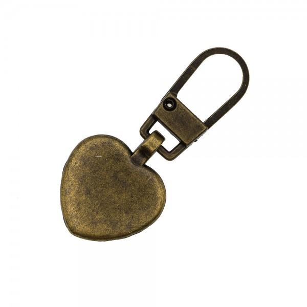 ZIP PULLER HEART - BRONZE
