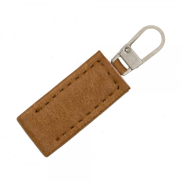 ZIP PULLER FAUX LEATHER - BROWN-SILVER