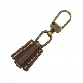ZIP PULLER FAUX LEATHER - BROWN-BRONZE