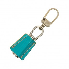 ZIP PULLER FAUX LEATHER - NIKEL TURQUOISE