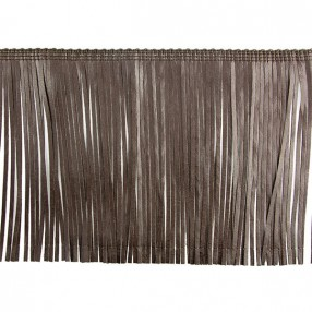 FAUX LEATHER FRINGE - BROWN