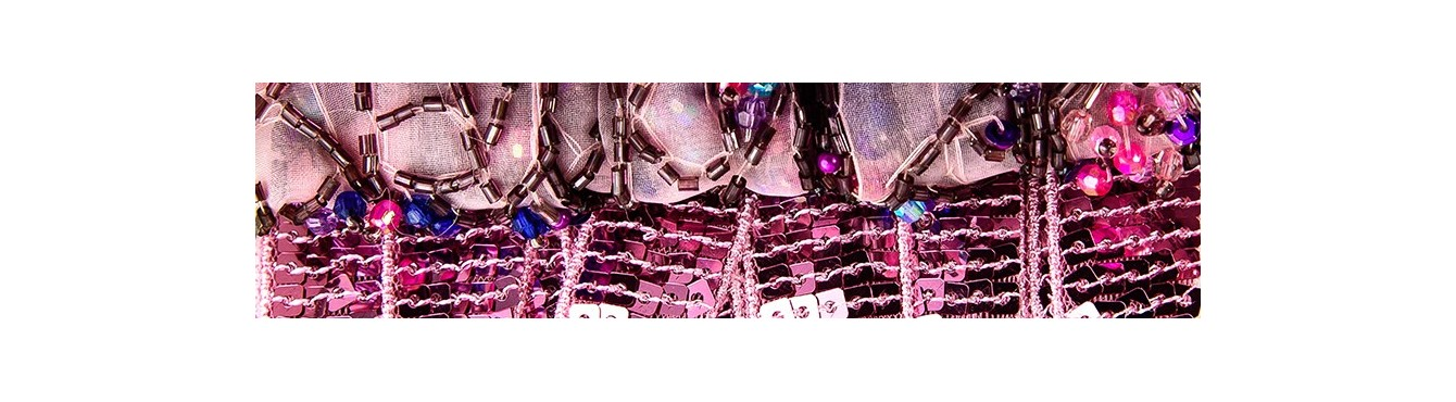 Beads Trim Pink Purple