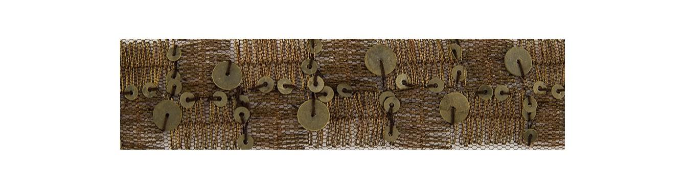 Beads Sequins Trim Beige-Brown