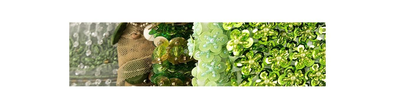 Beads Sequin Trim Green